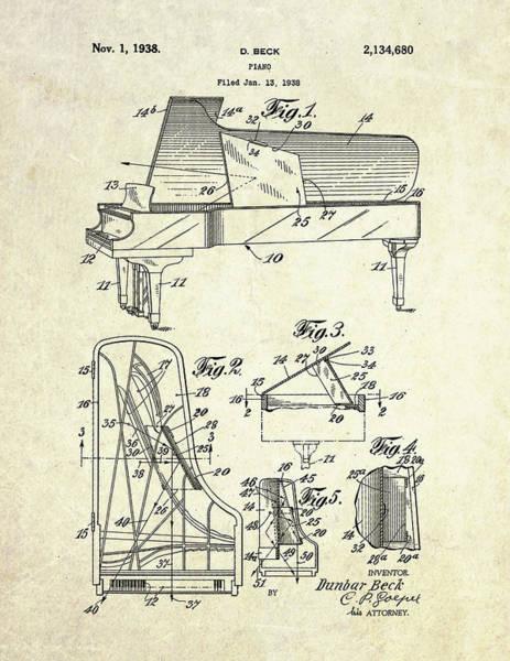Grand Piano Digital Art - 1938 Dunbar Beck Grand Piano Patent Art by Gary Bodnar