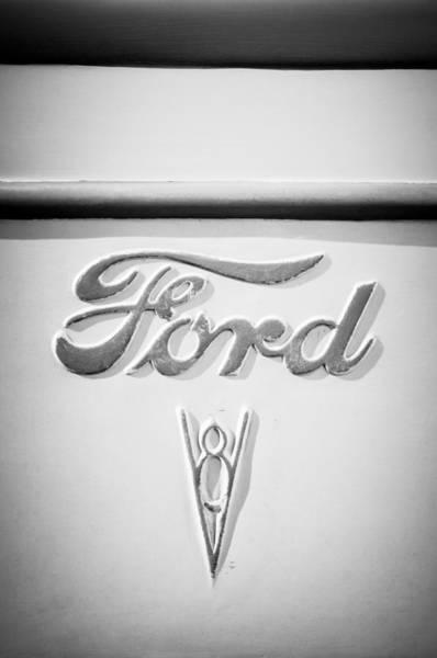 Rat Rod Wall Art - Photograph - 1938 Ford Rat Rod Panel Truck V8 Emblem -ck0119bw by Jill Reger