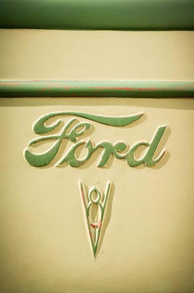 Rat Rod Wall Art - Photograph - 1938 Ford Rat Rod Panel Truck V8 Emblem -ck0119c by Jill Reger