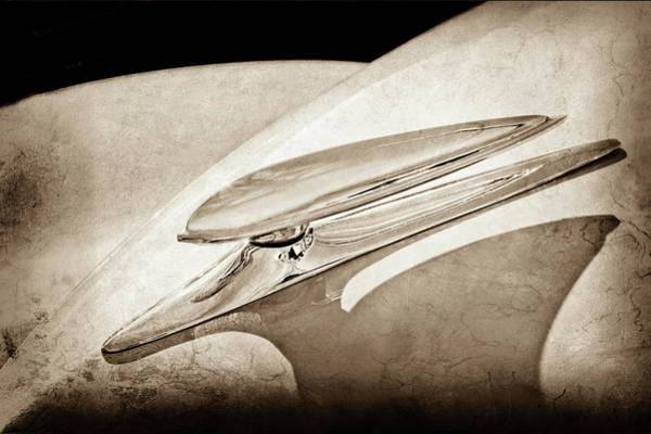 Wall Art - Photograph - 1938 Ford Woody Hood Ornament -0243s by Jill Reger