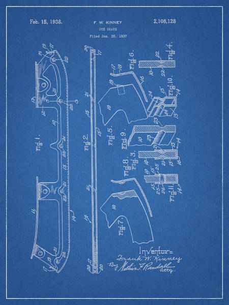 Drawing - 1938 Ice Skate Patent by Dan Sproul