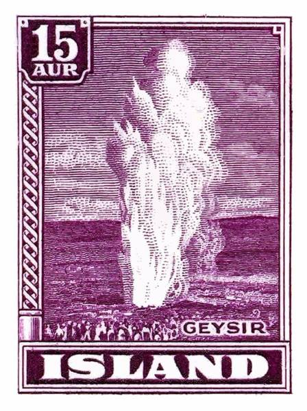 Iceland Digital Art - 1938 Iceland Geysir Postage Stamp by Retro Graphics