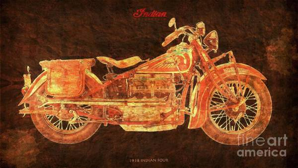 Wall Art - Digital Art - 1938 Indian Four Classic Motorcycle by Drawspots Illustrations
