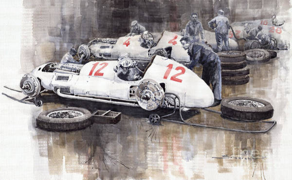 Wall Art - Painting - 1938 Italian Gp Mercedes Benz Team Preparation In The Paddock by Yuriy Shevchuk