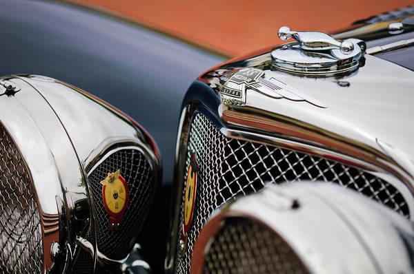Photograph - 1938 Jaguar Ss100  3.5-liter Roadster Hood Ornament by Jill Reger