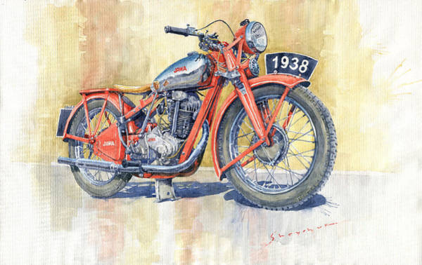 Wall Art - Painting - 1938 Jawa 350 Ohv by Yuriy Shevchuk
