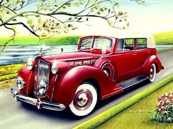 Car Drawings Mixed Media - 1938 Packard by Danny Whitfield