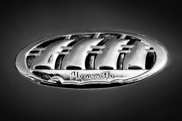 Wall Art - Photograph - 1938 Plymouth Sedan Emblem -0458bw by Jill Reger
