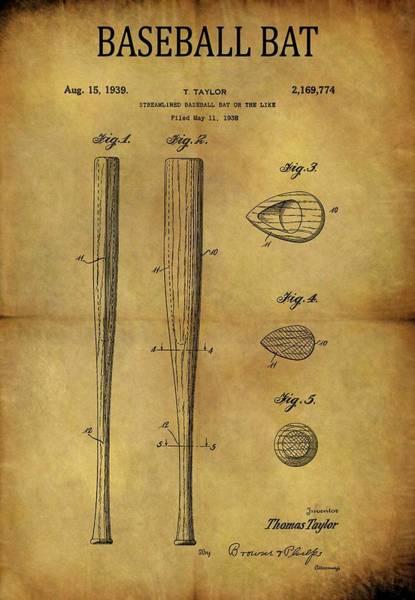 Babe Drawing - 1939 Baseball Bat Patent by Dan Sproul