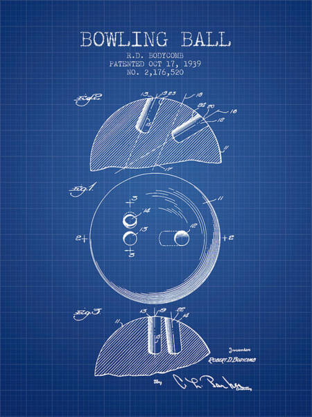 Bowling Ball Wall Art - Digital Art - 1939 Bowling Ball Patent - Blueprint by Aged Pixel