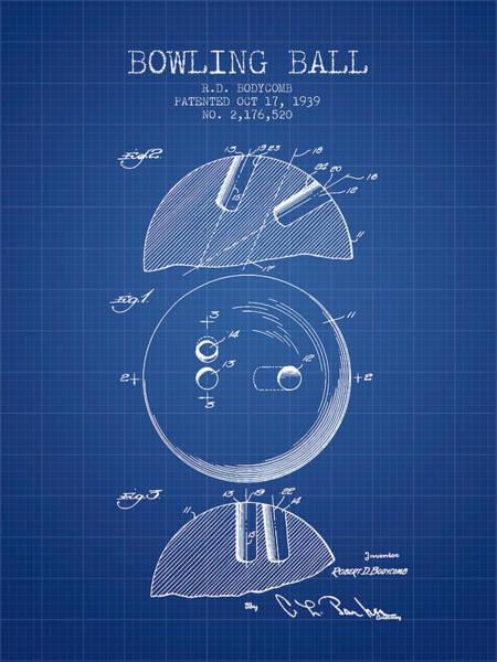 Petanque Wall Art - Digital Art - 1939 Bowling Ball Patent - Blueprint by Aged Pixel