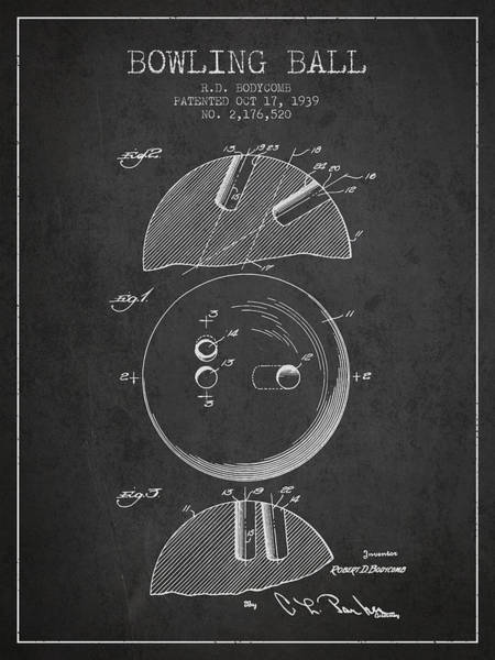 Bowling Ball Wall Art - Digital Art - 1939 Bowling Ball Patent - Charcoal by Aged Pixel