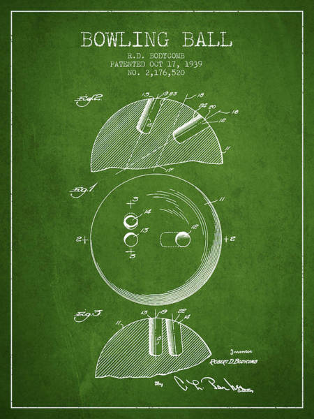 Bowling Ball Wall Art - Digital Art - 1939 Bowling Ball Patent - Green by Aged Pixel