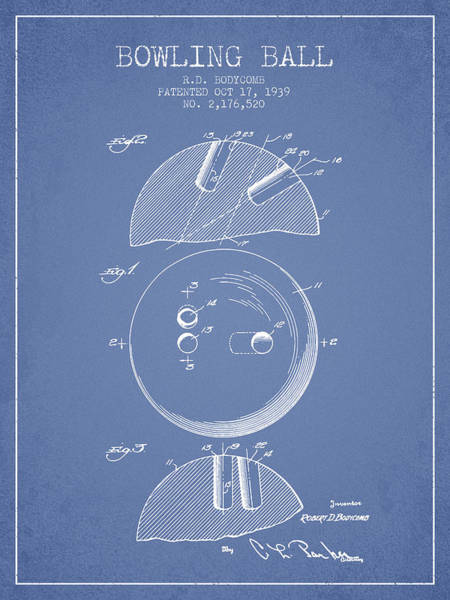 Bowling Ball Wall Art - Digital Art - 1939 Bowling Ball Patent - Light Blue by Aged Pixel