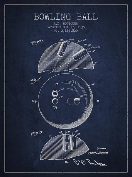 Bowling Ball Wall Art - Digital Art - 1939 Bowling Ball Patent - Navy Blue by Aged Pixel
