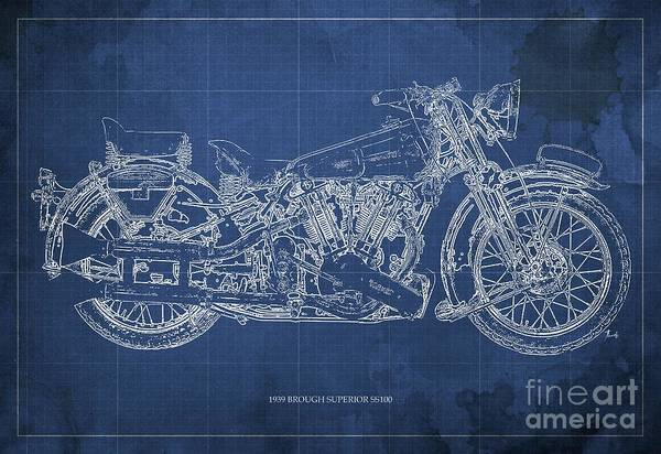 Wall Art - Painting - 1939 Brough Superior Ss100 Blueprint Blue Background by Drawspots Illustrations