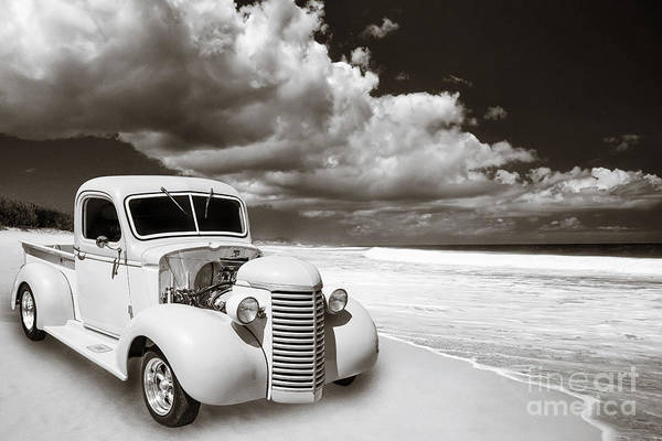 Digital Art - 1939 Chevrolet Pickup Antique Car In Sepia Print Or Canvas Prints 3517.01 by M K Miller
