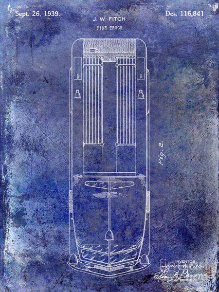 Fire Station Wall Art - Photograph - 1939 Fire Truck Patent Blue by Jon Neidert