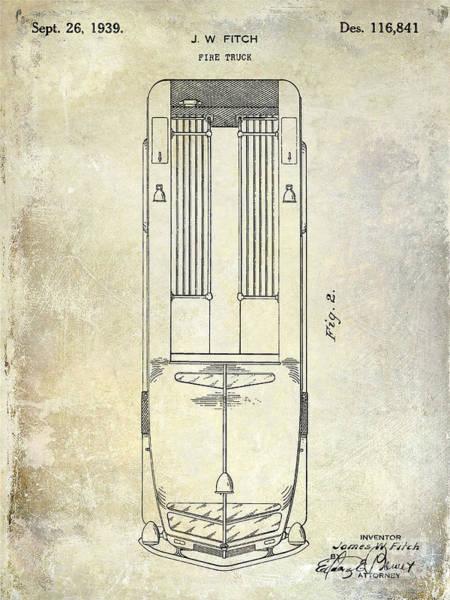 Fire Truck Wall Art - Photograph - 1939 Fire Truck Patent by Jon Neidert