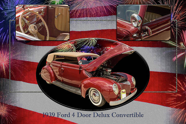 Photograph - 1939 Ford 4 Door Deluxe Convertible 5542.02 by M K Miller