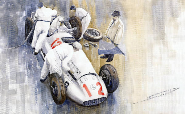 Car Painting - 1939 German Gp Mb W154 Rudolf Caracciola Winner by Yuriy Shevchuk