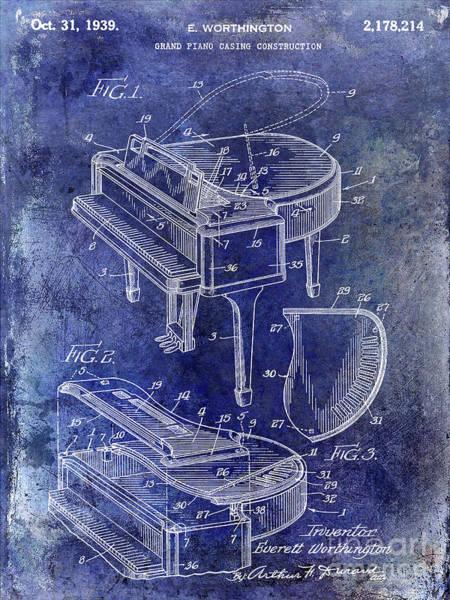 Grand Piano Photograph - 1939 Piano Patent by Jon Neidert