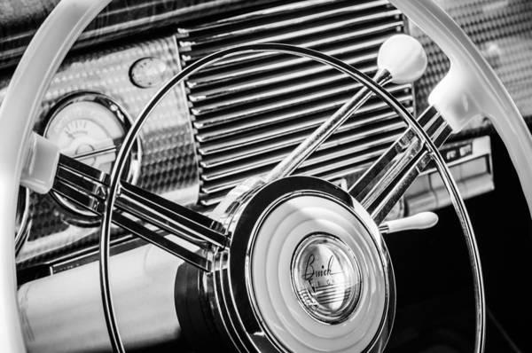 Photograph - 1940 Buick Eight Roadmaster Steering Wheel -389bw by Jill Reger