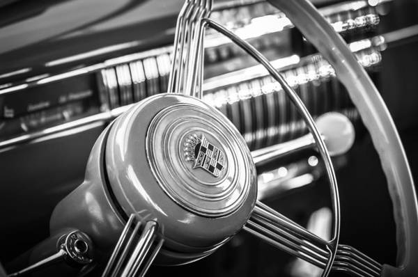 Photograph - 1940 Cadillac 60 Special Sedan Steering Wheel -197bw by Jill Reger