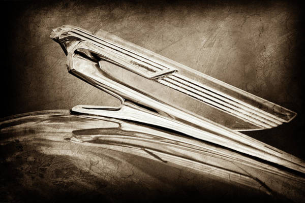 Wall Art - Photograph - 1940 Chevrolet Hood Ornament -0225s by Jill Reger