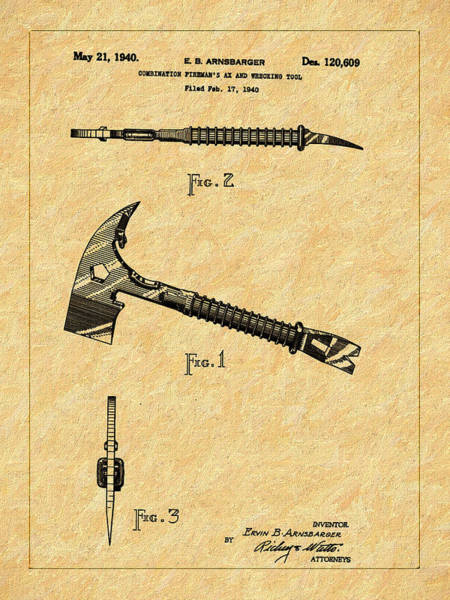 Drawing - 1940 Fire Ax And Wrecking Tool Patent by Barry Jones
