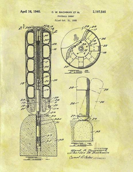 Nfl Drawing - 1940 Football Dummy Patent by Dan Sproul