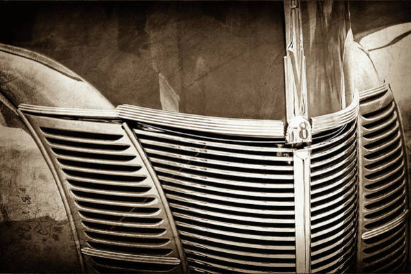 1940 Ford Coupe Photograph - 1940 Ford Deluxe Coupe Grille -0283s by Jill Reger
