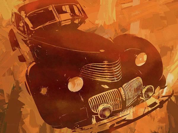 Digital Art - 1940 Hupp Skylark Orange Pop by David King