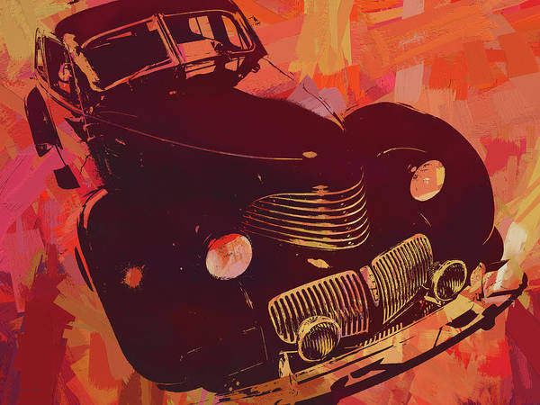 Digital Art - 1940 Hupp Skylark Red Pop by David King