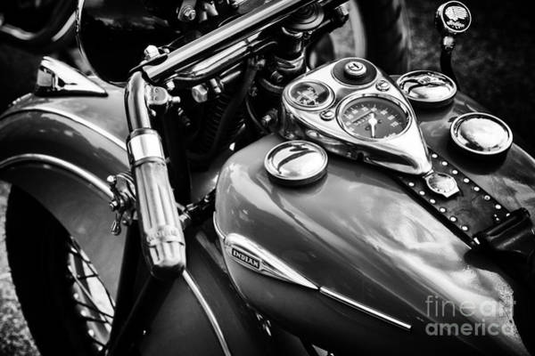 Forties Photograph - 1940 Indian Sport Scout Motorcycle Monochrome  by Tim Gainey