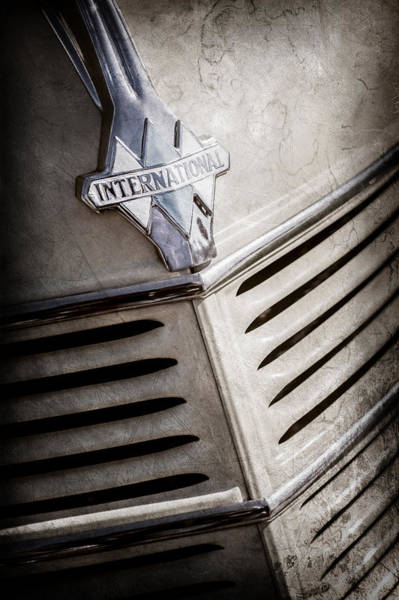 Photograph - 1940 International D-2 Station Wagon Grille Emblem -0219ac by Jill Reger