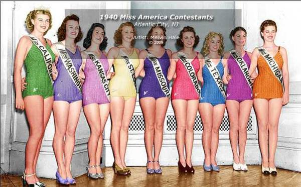 Wall Art - Painting - 1940 Miss America Contestants by Melvin Hale