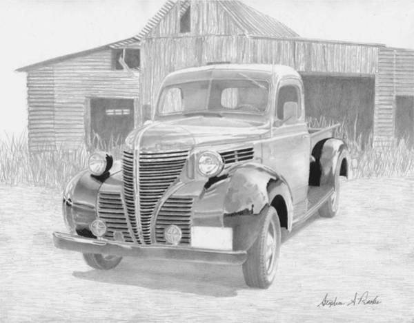 Car Drawings Mixed Media - 1940 Plymouth Pickup Truck Art Print by Stephen Rooks