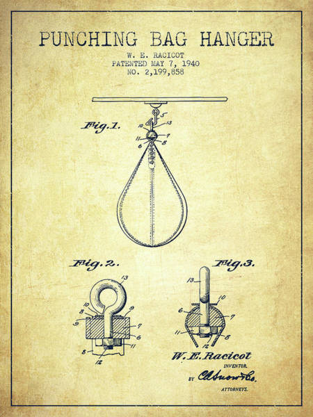 Mma Digital Art - 1940 Punching Bag Hanger Patent Spbx13_vn by Aged Pixel