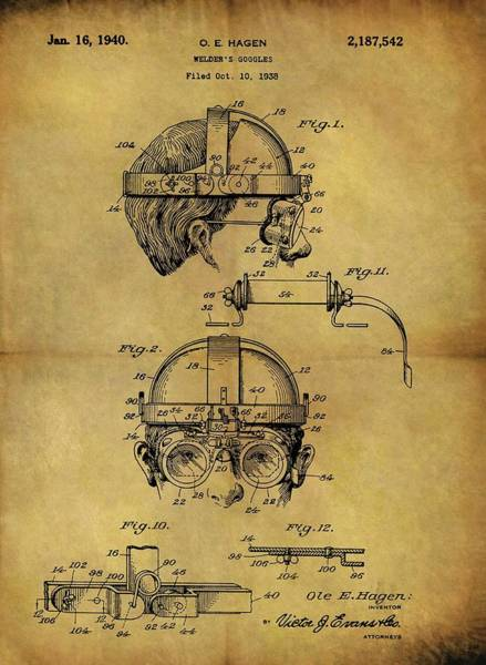 Punk Drawing - 1940 Welder Goggles Patent by Dan Sproul