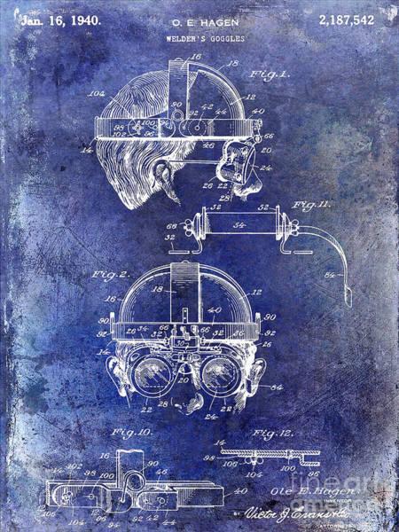 Goggles Wall Art - Photograph - 1940 Welders Goggles Patent Blue by Jon Neidert