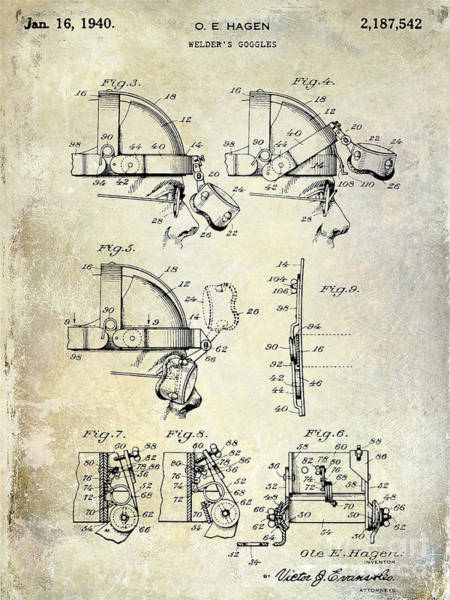 Goggles Wall Art - Photograph - 1940 Welders Goggles Patent by Jon Neidert
