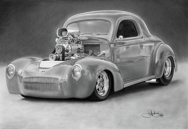Hot Rod Drawing - 1940 Willy's Coupe by John Harding
