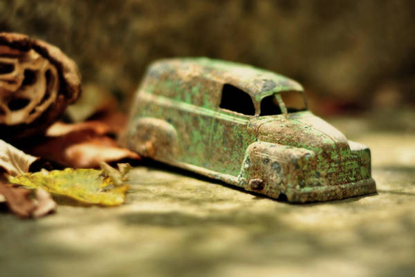 Earthtones Photograph - 1940s Green Chevy Sedan Style Toy Car by Rebecca Sherman