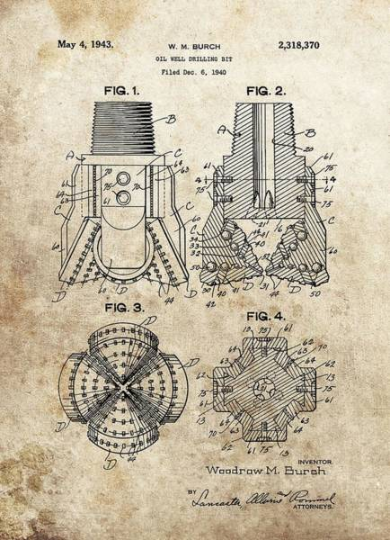 Drawing - 1940s Oil Drill Bit Patent by Dan Sproul