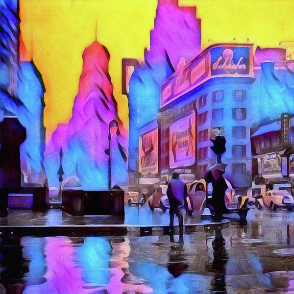Photograph - 1940s Times Square Rain by Susan Maxwell Schmidt