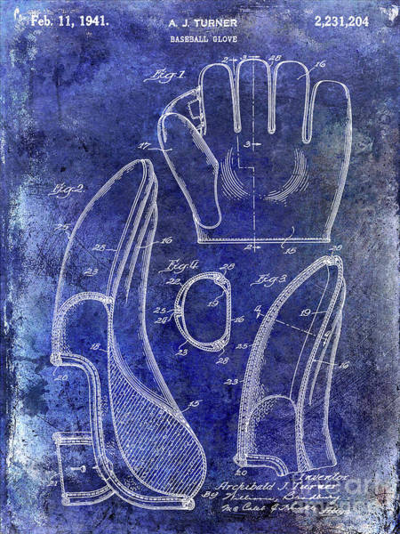 Wall Art - Photograph - 1941 Baseball Glove Patent Blue by Jon Neidert