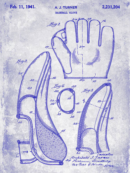 Wall Art - Photograph - 1941 Baseball Glove Patent Blueprint by Jon Neidert
