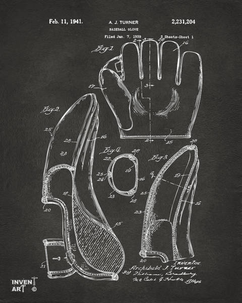 Den Digital Art - 1941 Baseball Glove Patent - Gray by Nikki Marie Smith