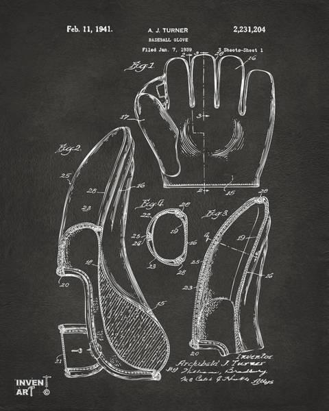 Gloves Digital Art - 1941 Baseball Glove Patent - Gray by Nikki Marie Smith